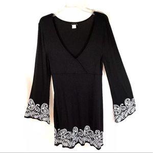 Venus Black Paisley M LS Boho Festival Dress